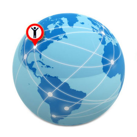 A globe of the world with networking connector lines and the EASI-Consult icon superimposed