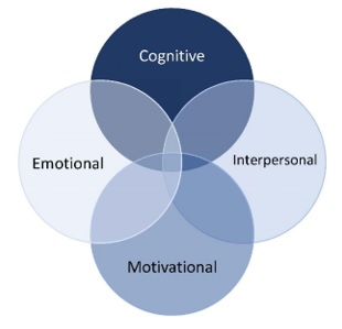4 intersecting circles entitled cognitive, emotional, interpersonal, motivational